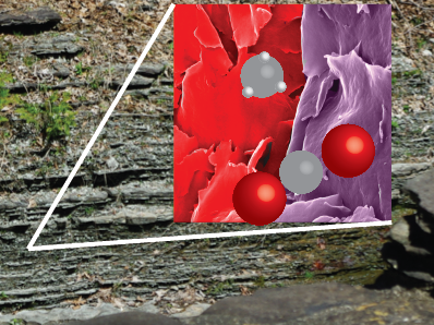 Image of shale with an inset of microscopic elements