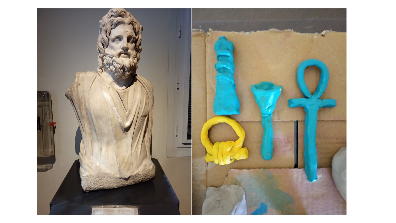 A statue of Seraphis, a Greco-Egyptian deity (left) and clay depictions of amulets Poppell worked on for an experimental archaeology project (right).