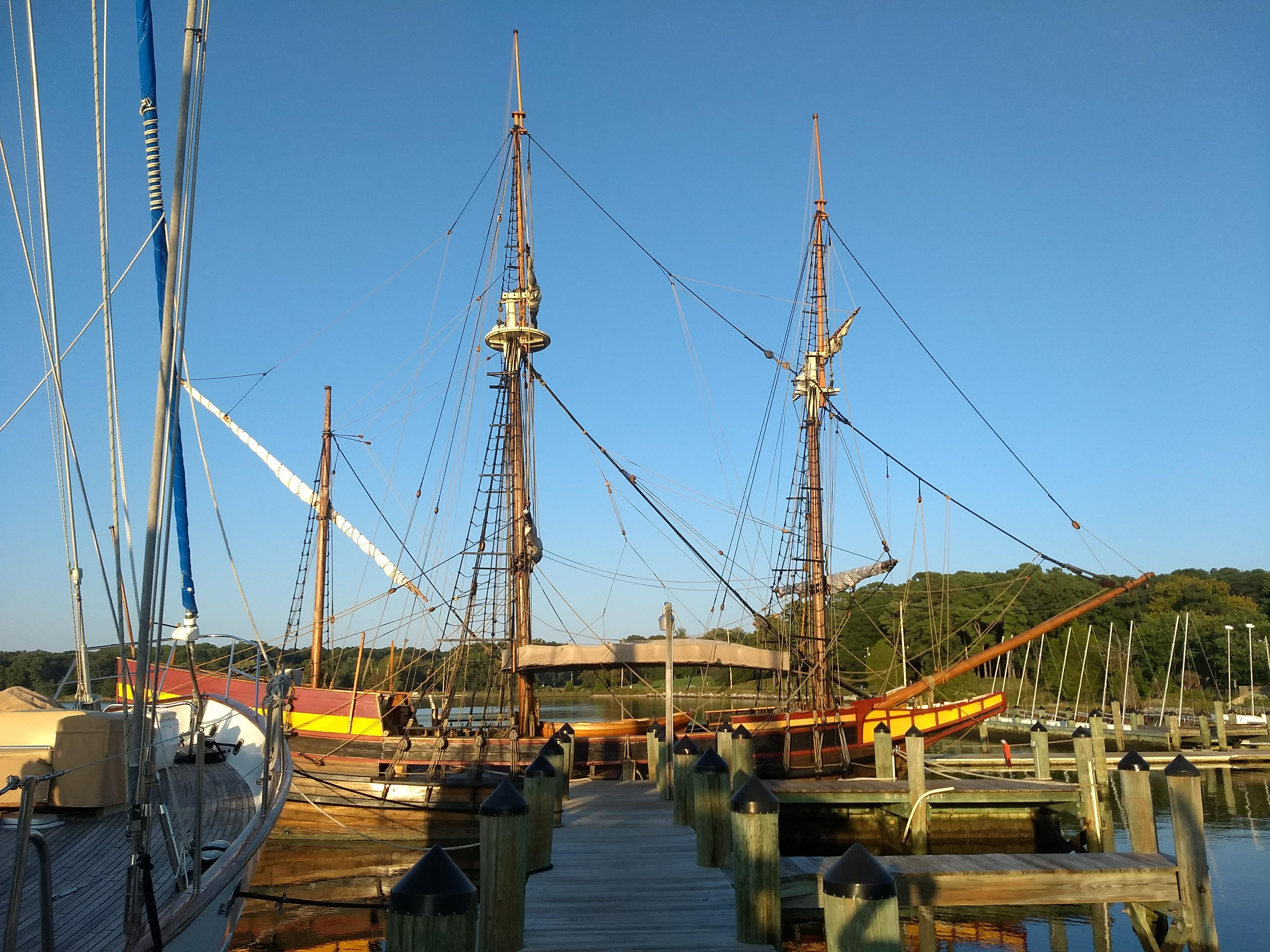 The Dove ship docked at the SMCM Waterfront dock.