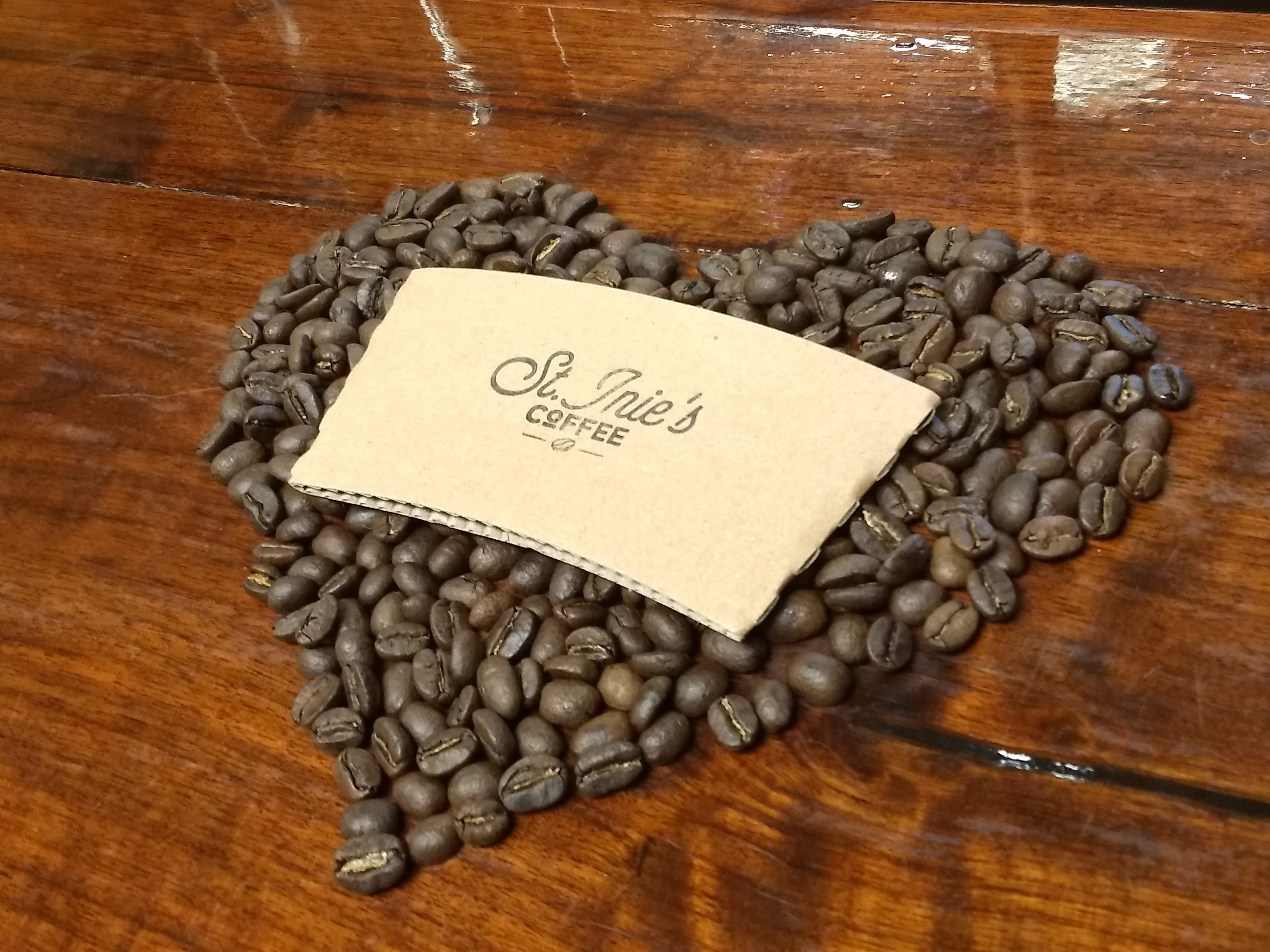 St. Inie's Coffee beans in the shape of a heart.