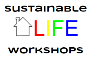 """Sustainable Life Workshop"" Logo with the clip-art outline of a house"
