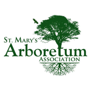 "green tree with roots surrounding the name, ""St. Mary's Arboretum Association"""