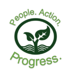 "The words ""People, Action, Progress"" written in green around a green leaf logo"
