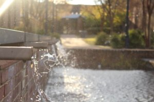 Goodpaster fountain that runs on recycled rain water from gutters