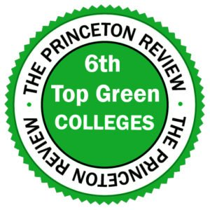 "Green badge awards St. Mary's College as the ""6th in Top Green Colleges,"" by Princeton Review"