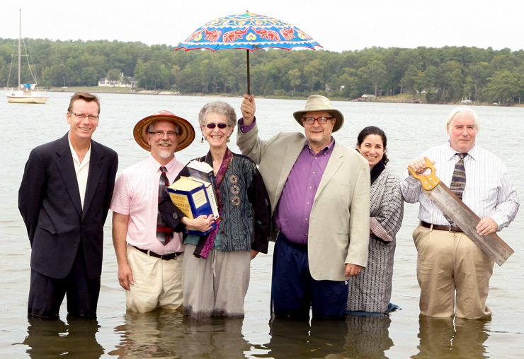 A photo of Joanne and the rest of the TFMS department. (L to R: David Ellsworth; Mark A. Rhoda; Joanne Klein, chair; Michael Ellis-Tolaydo, emeritus; Holly A. Blumner; David V. Groupé). Photo courtesy of smcm.edu