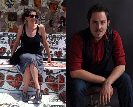 Dr. Amy Steiger, left, sits outside on a colorful mosaic bench. Spencer Potter, MFA, right, poses for a portrait photo.
