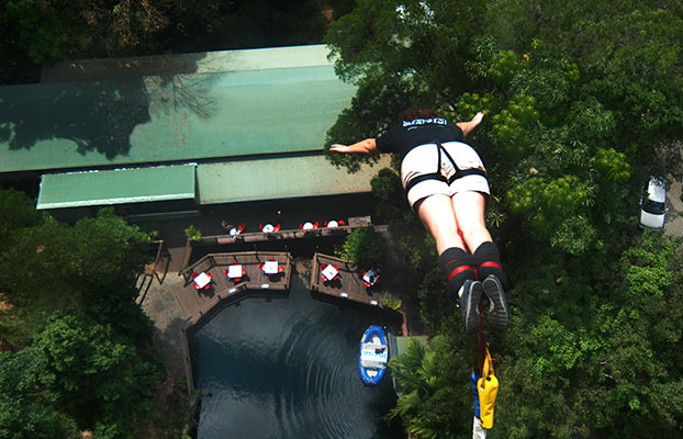 A student bungee jumping