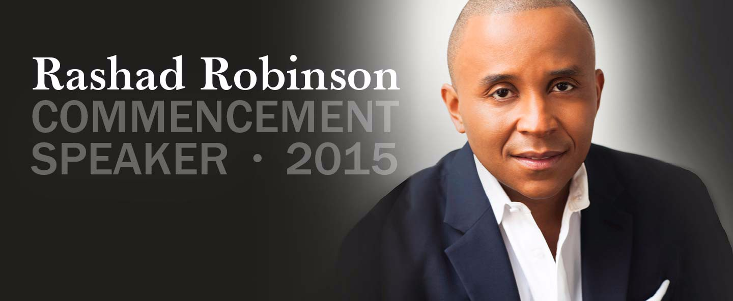 Commencement poster featuring profile image of Rashid Robinson