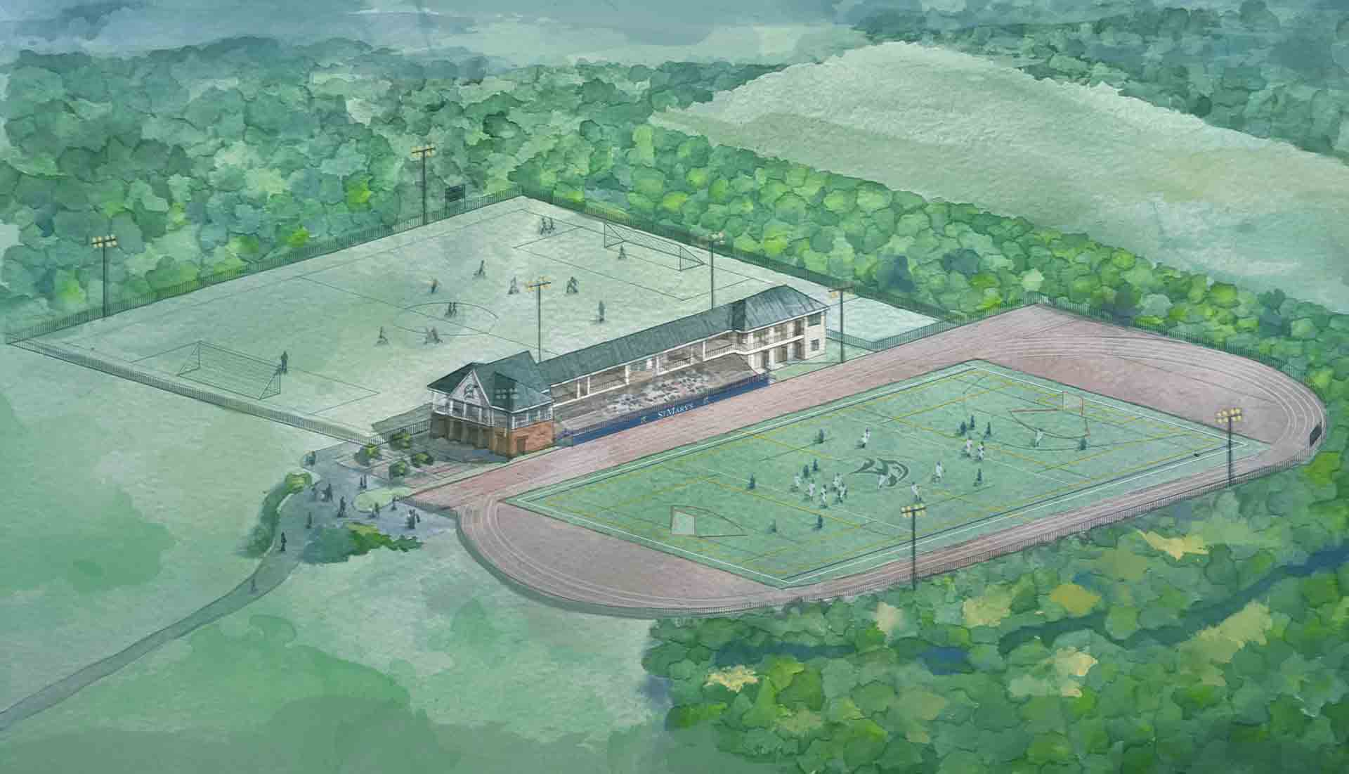 Architectural watercolor rendering of the completed Jamie L. Roberts Stadium