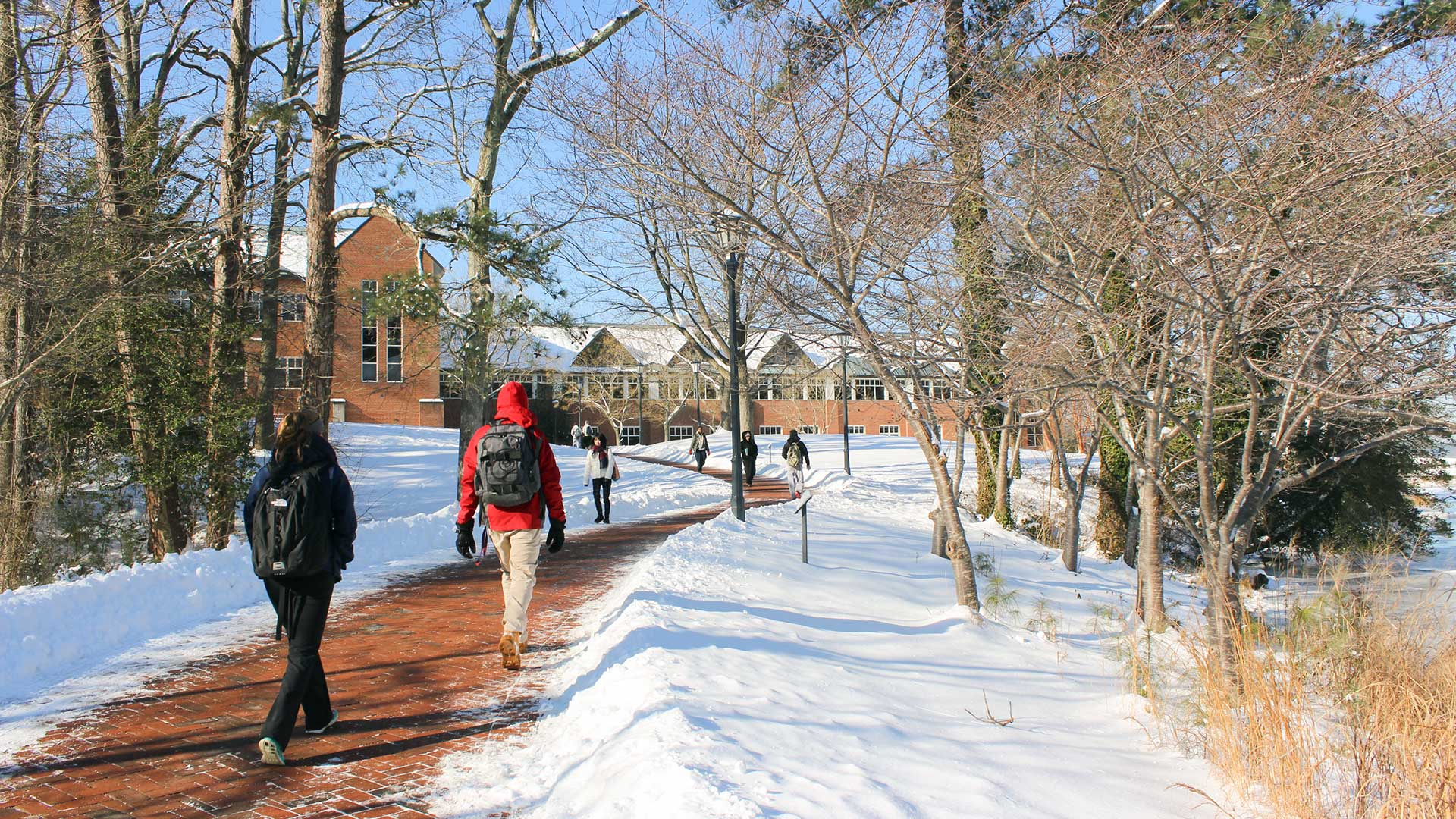 SMCM St. John's Pond pedestrian path leading to the Campus Center and Hilda C. Landers Library