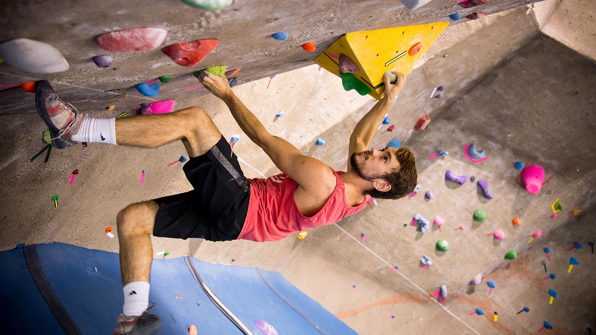 Male student scales the climbing wall in St. Mary's athletic facility