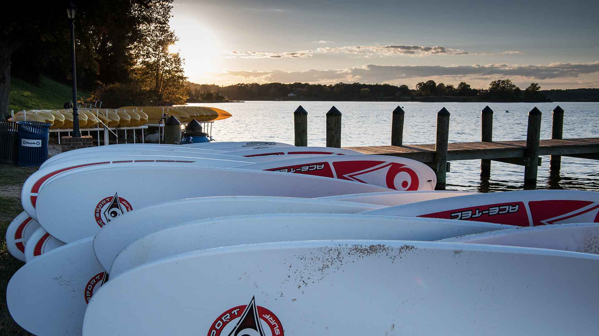 SMCM waterfront paddleboards and kayaks before sunset