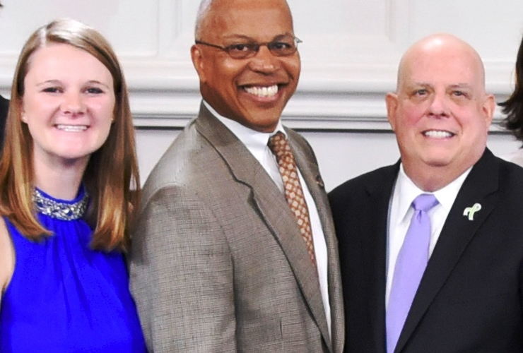 Erin Chase with Lt. Governor Boyd Rutherford and Governor Larry Hogan