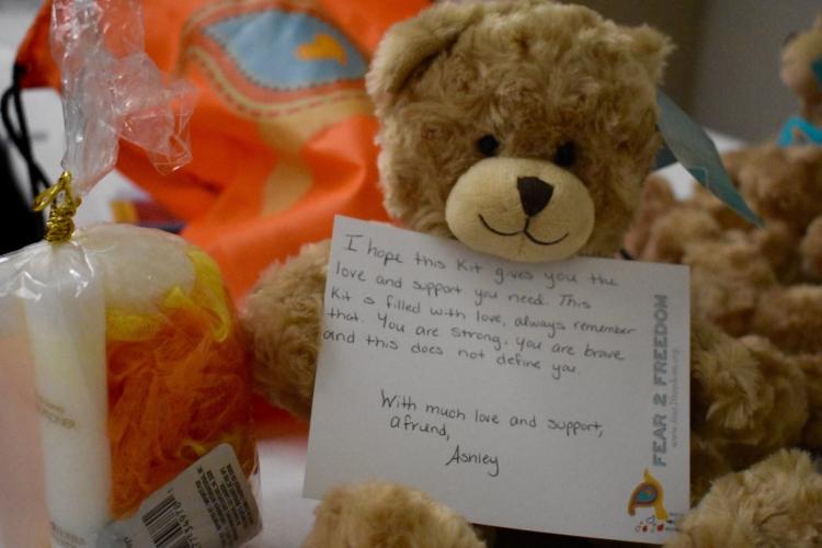 teddy bear with hand-written note