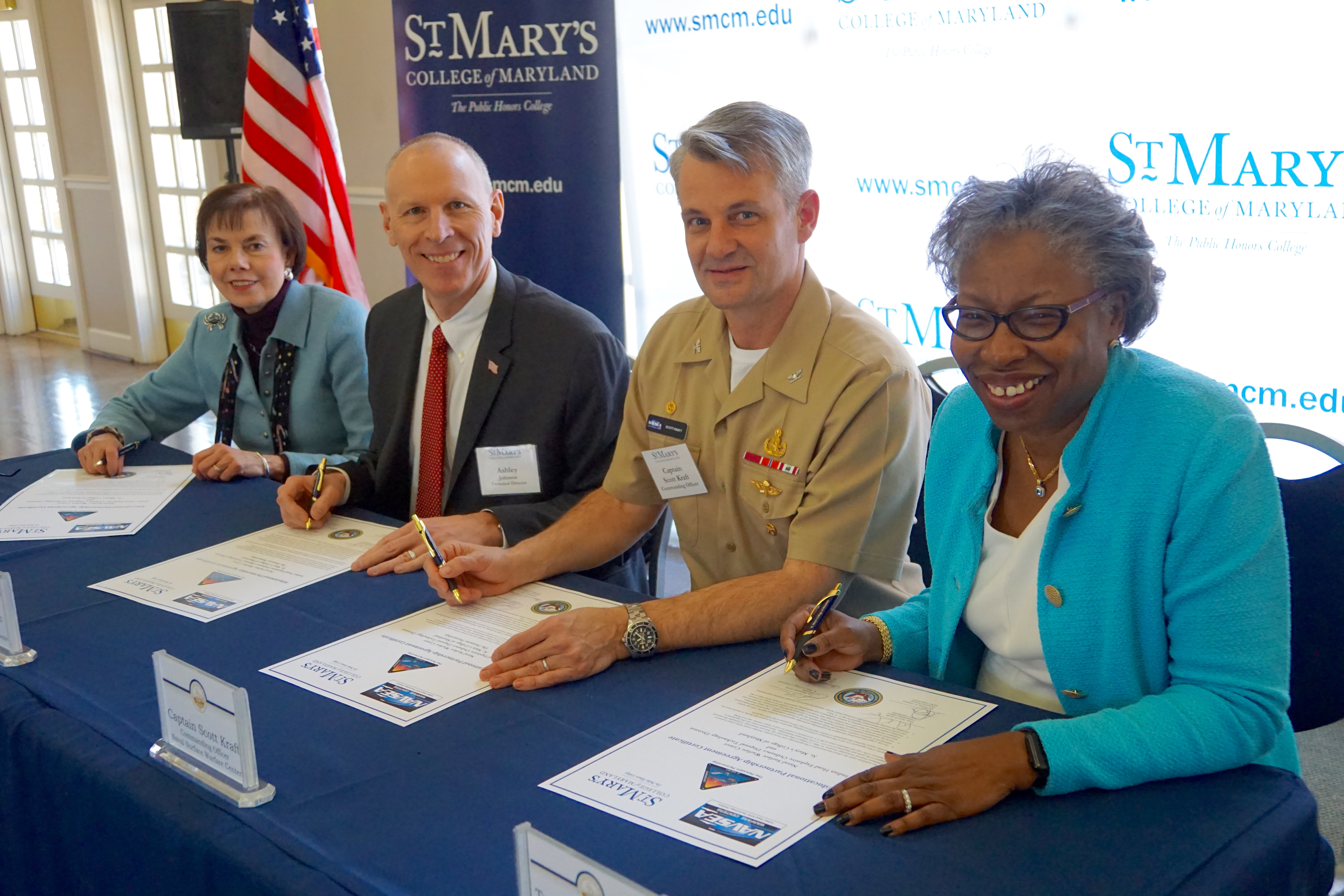 (L-R) Bonnie Green, executive director, The Patuxent Partnership; Ashley Johnson, NSWC IHEODTD technical director; Scott Kraft, NSWC IHEODTD commanding officer; Tuajuanda C. Jordan, St. Mary's College president pictured