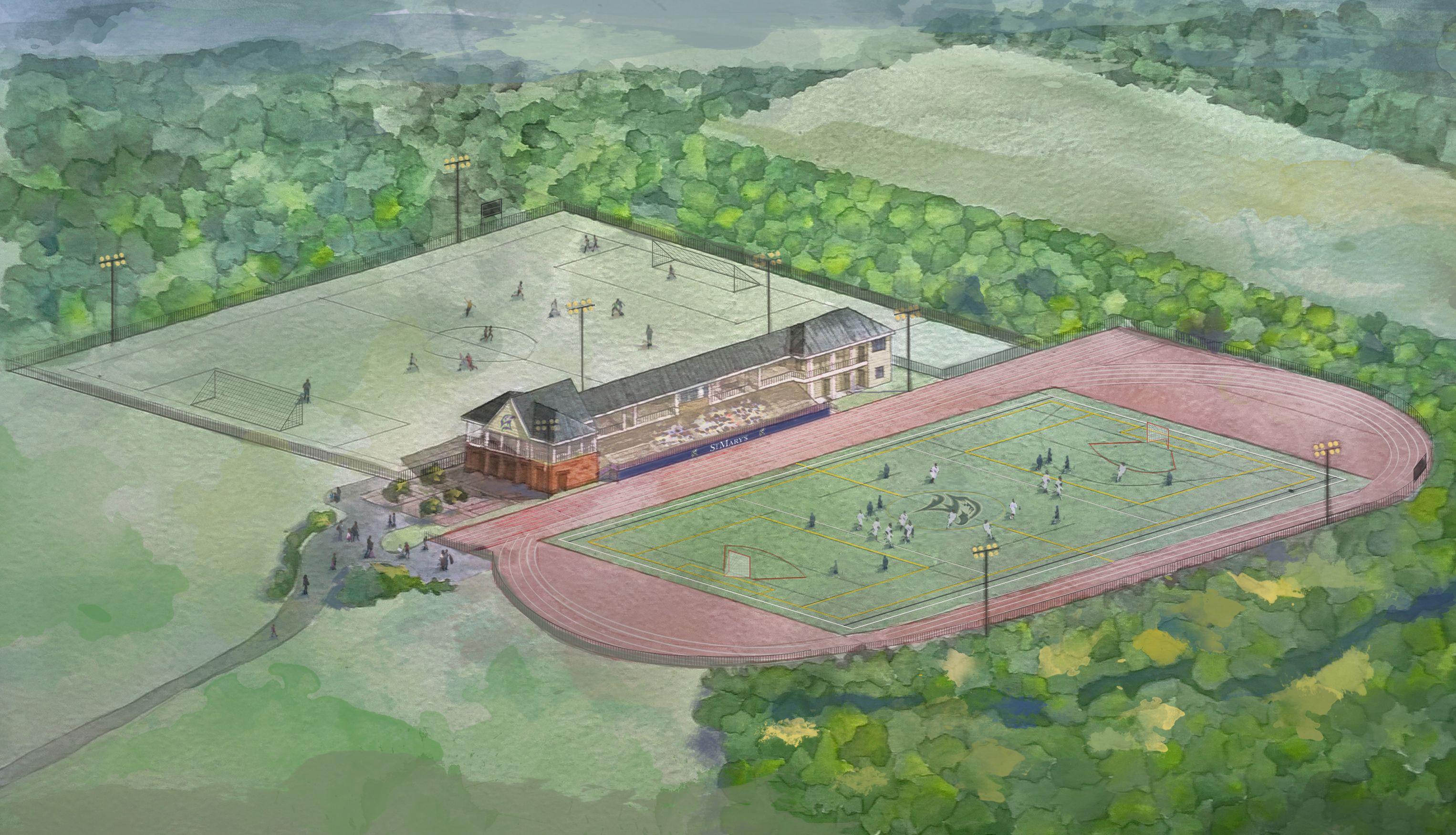 Rendering of Jamie L Roberts Stadium pictured